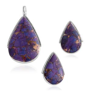 Santa Fe Style Mojave Purple Turquoise Sterling Silver Earrings and Pendant without Chain TGW 7.50 cts.