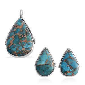 Santa Fe Style Mojave Blue Turquoise Sterling Silver Earrings and Pendant without Chain TGW 7.50 cts.