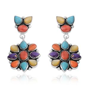 Santa Fe Style Multi Turquoise, Multi Color Spiney Oyster Shell, Yellow Mother of Pearl Sterling Silver Earrings TGW 2.70 cts.