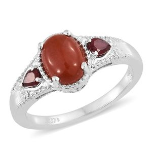 Burmese Red Jade, Niassa Ruby Platinum Over Sterling Silver Ring (Size 7.0) TGW 2.88 cts.