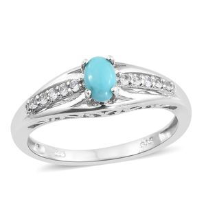 Arizona Sleeping Beauty Turquoise, Cambodian Zircon Platinum Over Sterling Silver Ring (Size 5.0) TGW 0.65 cts.