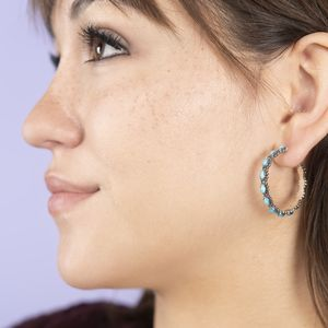 Santa Fe Style Kingman Turquoise Sterling Silver Hoop Earrings TGW 4.00 cts.