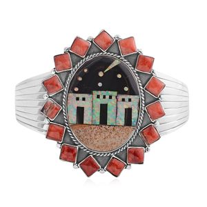 Santa Fe Style Picture Jasper, Multi Gemstone Sterling Silver Cuff (7.50 In) TGW 4.75 cts.
