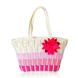 Nik's DOORBUSTER Pick Shades of Pink Straw Woven Tote Bag (16x6x12 in)