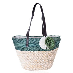 Green Straw Flower Beach Tote with Faux Leather Strap (11.5x5x12 in)