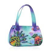 SUKRITI - Aqua Floral and Peacock Hand Painted Genuine Leather Shoulder Bag with Standing Studs (15x3.5x9 in)