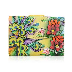 SUKRITI - Yellow Floral Handpainted Genuine Leather RFID Bifold Wallet (5.5x3.75 in)