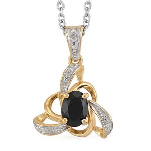 Australian Black Tourmaline 14K YG Over Sterling Silver Pendant With ION Plated YG Stainless Steel Chain (20 in) TGW 0.75 cts.