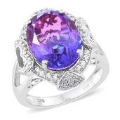 Midnight Fuchsia Quartz, Cambodian Zircon Platinum Over Sterling Silver Heart Shank Ring (Size 7.0) TGW 10.70 cts.
