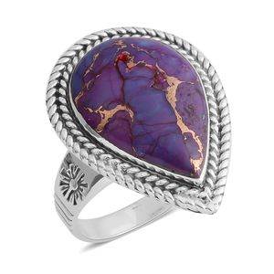 Santa Fe Style Mojave Purple Turquoise Sterling Silver Ring (Size 7.0) TGW 1.75 cts.