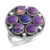 Santa Fe Style Mojave Purple Turquoise Sterling Silver Ring (Size 7.0) TGW 5.25 cts.