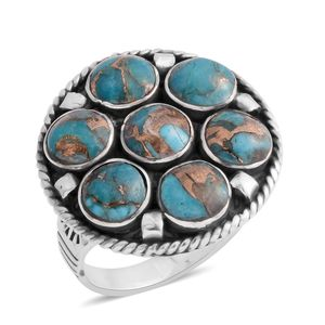 Santa Fe Style Mojave Blue Turquoise Sterling Silver Ring (Size 9.0) TGW 5.25 cts.