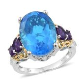 Caribbean Quartz, Amethyst 14K YG and Platinum Over Sterling Silver Ring (Size 8.0) TGW 14.64 cts.