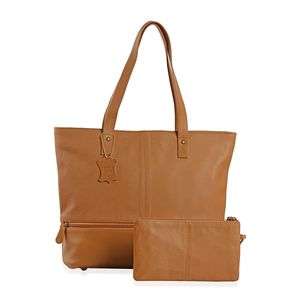 Camel Genuine Leather Tote Bag with Standing Studs (14x3.5x12 in) with RFID Clutch (9x5 in)