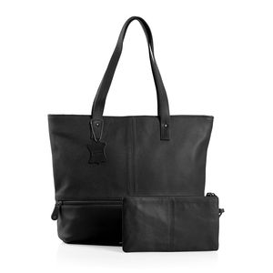 Black 100% Genuine Leather Tote Bag with RFID Clutch (16x4x12 in)