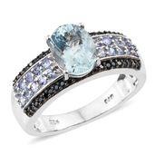 Premium AAA Espirito Santo Aquamarine, Tanzanite, Thai Black Spinel Platinum Over Sterling Silver Ring (Size 7.0) TGW 2.72 cts.