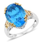 Caribbean Quartz, Cambodian Zircon 14K YG and Platinum Over Sterling Silver Ring (Size 10.0) TGW 13.17 cts.