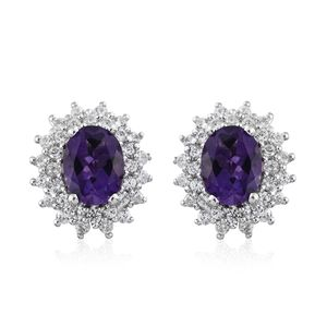 Uruguayan Amethyst, Cambodian Zircon Platinum Over Sterling Silver Earrings TGW 3.37 cts.