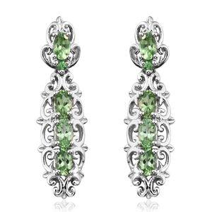 Merelani Mint Garnet, Tsavorite Garnet Platinum Over Sterling Silver Earrings TGW 2.24 cts.
