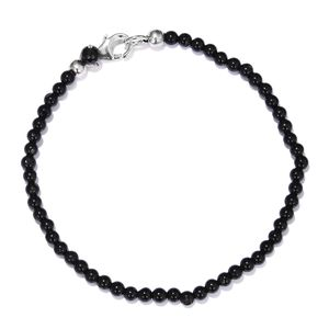 Thai Black Spinel Platinum Over Sterling Silver Beaded Bracelet (7.50 In) TGW 20.00 cts.