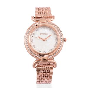 STRADA Austrian Crystal Japanese Movement Water Resistant Watch with Rosetone and Stainless Steel Back TGW 2.00 cts.