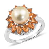 Golden South Sea Pearl (9-9.5 mm), Salamanca Fire Opal, Cambodian Zircon Platinum Over Sterling Silver Ring (Size 10.0) TGW 1.75 cts.