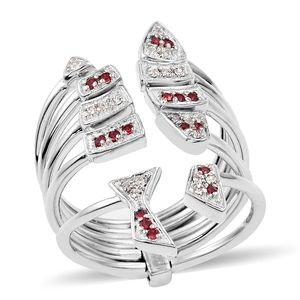Simulated Diamond Platinum Bond Brass Open Staacked Ring (Size 9.0) Made with SWAROVSKI Ruby and White Crystal TGW 0.28 cts.
