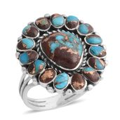 Santa Fe Style Turquoise Lava Sterling Silver Ring (Size 11.0) TGW 2.28 cts.