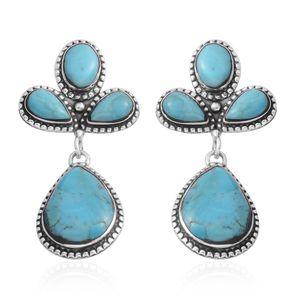 Santa Fe Style Kingman Turquoise Sterling Silver Dangle Earrings TGW 83.45 cts.