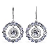 Green Tanzanite, Cambodian Zircon Platinum Over Sterling Silver Dangle Earrings TGW 3.36 cts.