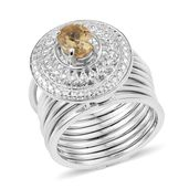 KARIS Collection - Multi Wear Brazilian Citrine Platinum Bond Brass Stacked Ring (Size 6) or Bracelet (7.50In) TGW 1.15 cts.