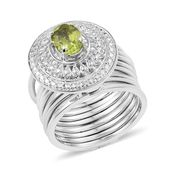 KARIS Collection - Multi Wear Hebei Peridot Platinum Bond Brass Stacked Ring (Size 6) or Bracelet (7.50In) TGW 1.40 cts.