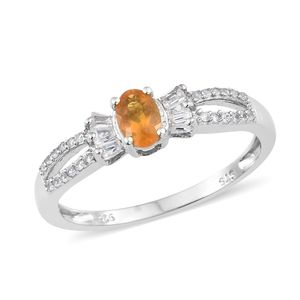 Salamanca Fire Opal, Cambodian Zircon Platinum Over Sterling Silver Bow Split Ring (Size 9.0) TGW 0.64 cts.