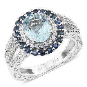 Espirito Santo Aquamarine, Kanchanaburi Blue Sapphire, Cambodian Zircon Platinum Over Sterling Silver Euro Ring (Size 7.0) TGW 3.88 cts.