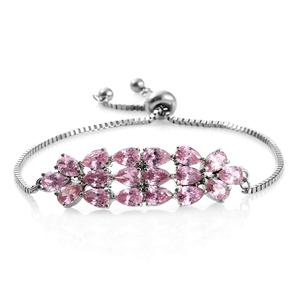 Simulated Pink Sapphire Stainless Steel Bolo Bracelet (Adjustable) TGW 10.90 cts.