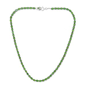 Russian Diopside, Thai Black Spinel Platinum Over Sterling Silver Necklace (18 in) Total Gem Stone Weight 34.78 Carat