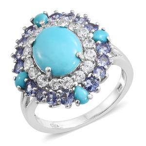 Customer Appreciation Day Arizona Sleeping Beauty Turquoise, Tanzanite, Cambodian Zircon Platinum Over Sterling Silver Ring (Size 5.0) TGW 7.87 cts.