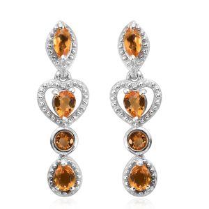Salamanca Fire Opal Platinum Over Sterling Silver Heart Drop Earrings TGW 0.63 cts.