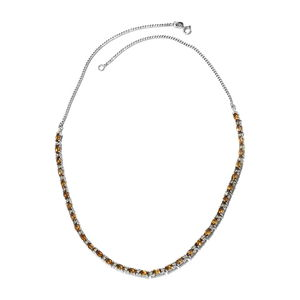 Mocha Scapolite, Cambodian Zircon Platinum Over Sterling Silver Necklace (18 in) TGW 8.90 cts.