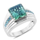Peacock Quartz, Malgache Neon Apatite Platinum Over Sterling Silver Men's Ring (Size 12.0) TGW 9.01 cts.