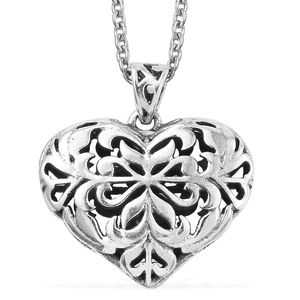 Sterling Silver Heart Pendant With Chain (20 in)