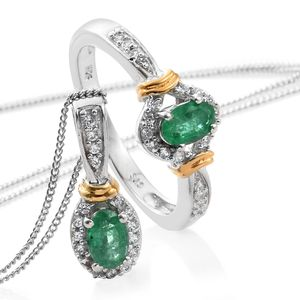 Premium Brazilian Emerald, Cambodian Zircon 14K YG and Platinum Over Sterling Silver Ring (Size 8) and Pendant With Chain (20 in) TGW 1.32 cts.