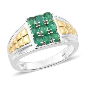 Premium Brazilian Emerald 14K YG and Platinum Over Sterling Silver Men's Signet Ring (Size 13.0) TGW 1.75 cts.