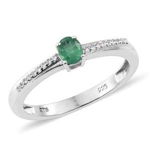 Premium Brazilian Emerald, Cambodian Zircon Platinum Over Sterling Silver Ring (Size 10.0) TGW 0.50 cts.