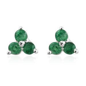 Premium Brazilian Emerald Platinum Over Sterling Silver Flower Stud Earrings TGW 0.40 cts.