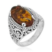 Bali Legacy Collection Baltic Amber Sterling Silver Ring (Size 10.0)