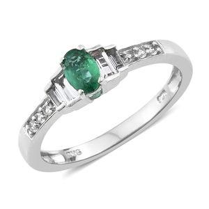 Premium Brazilian Emerald, White Topaz Platinum Over Sterling Silver Ring (Size 8.0) TGW 0.86 cts.