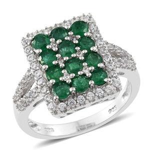 Premium Brazilian Emerald, Cambodian Zircon Platinum Over Sterling Silver Split Ring (Size 7.0) TGW 2.18 cts.