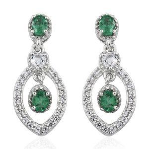 Premium Brazilian Emerald, White Topaz, Cambodian Zircon Platinum Over Sterling Silver Dangle Earrings TGW 1.24 cts.