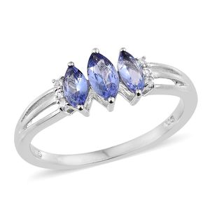 Tanzanite, Cambodian Zircon Platinum Over Sterling Silver Ring (Size 7.0) TGW 0.85 cts.